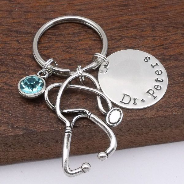 Doctor gift personalised stethoscope keyring custom name